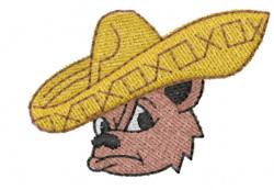 Bear in Sombrero embroidery design