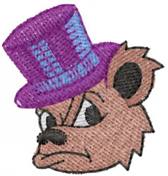 Bear in Tophat embroidery design