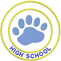 BEAR PAW 2 – DOUBLE CIRCLE – HIGH SCHOOL embroidery design