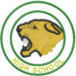 COUGAR HEAD 1 – DOUBLE CIRCLE – HIGH SCHOOL embroidery design