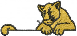 Cougar On Wall embroidery design