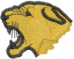 Growling Cougar Head embroidery design