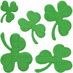 FIVE 3-LEAF CLOVERS embroidery design