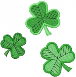 THREE 3-LEAF CLOVERS embroidery design