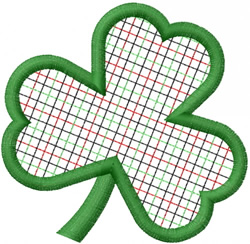 PLAID CHECKED OPEN 3-LEAF CLOVER embroidery design