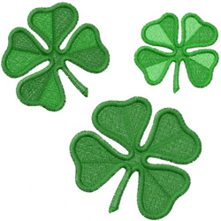 THREE 4-LEAF CLOVERS embroidery design