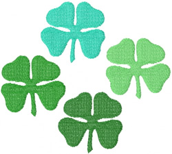 FOUR 4-LEAF CLOVERS embroidery design