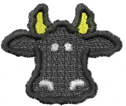 Black Cow Head embroidery design