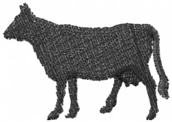 Cow Silhouette embroidery design