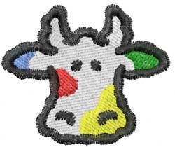 Rainbow Cow Head embroidery design
