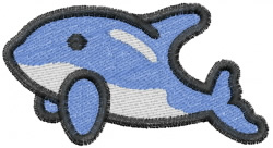 Bubble Dolphin embroidery design