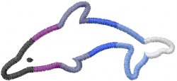 Rainbow Dolphin embroidery design