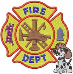 FIRE DEPT CROSS W DALMATION PUPPY embroidery design