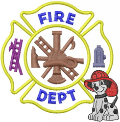 FIRE DEPT OPEN CROSS W DALMATION PUPPY embroidery design