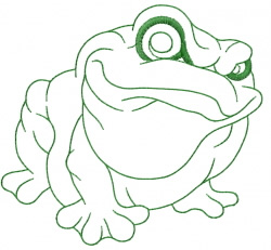Frog – running stitch outline embroidery design