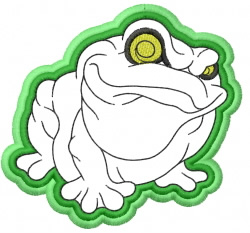 Frog – APPLIQUE – double outline embroidery design