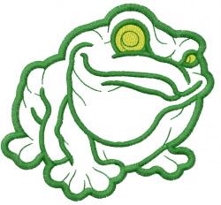 Frog – 2 outlines – satin details embroidery design