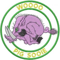 WOOOO PIG SOOIE embroidery design