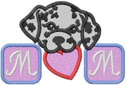 MOM  - HEART & DALMATION PUPPY DOG embroidery design