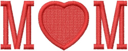 MOM - RED HEART embroidery design