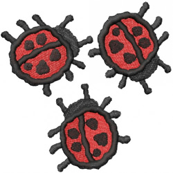 THREE RED LADYBUGS embroidery design