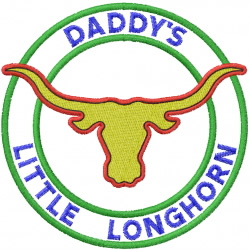 Daddys Little Longhorn embroidery design