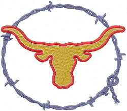Barbed Wire Longhorn embroidery design