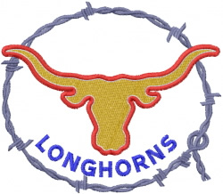 Longhorn Barbed Wire embroidery design