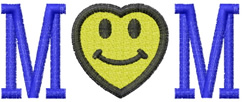 Mom Heart Smiley embroidery design