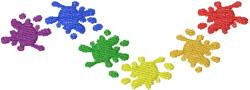 Rainbow Paint Splatter embroidery design