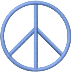 Thin peace sign embroidery design