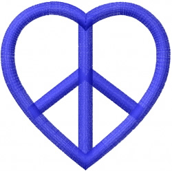 Heart shaped peace sign embroidery design