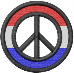 Red, White & Blue peace sign embroidery design