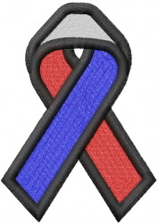 Large Red, White & Blue rememberance ribbon embroidery design