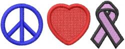 Peace Love Awareness embroidery design