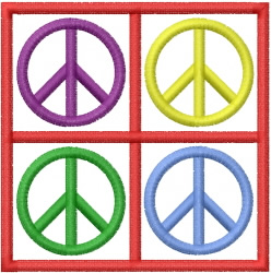 PEACE SIGNS SQUARE embroidery design