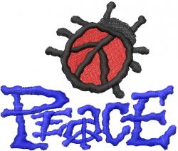 Ladybug Peace embroidery design