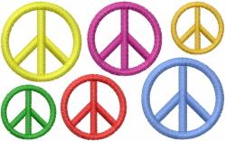 Six Peace Rainbows embroidery design
