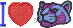 I Heart Panthers embroidery design