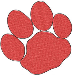 THIN OUTLINE PAW PRINT embroidery design