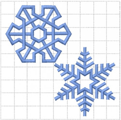 TWO SNOWFLAKES ON A GRID embroidery design