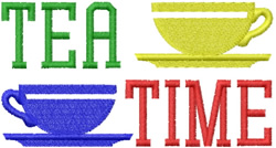 Tea Time Cups embroidery design