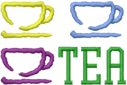 Three Teacups embroidery design