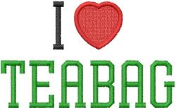 I Love Teabag embroidery design