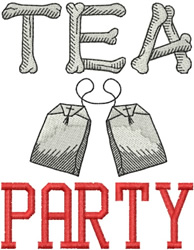Tea Party Bones embroidery design