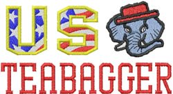 US Teabagger embroidery design