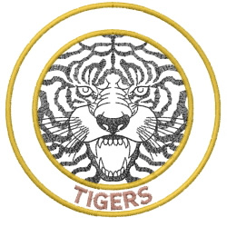 Tigers face in circles embroidery design