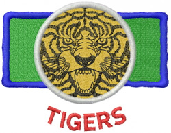 TIGER FACE, CIRCLE, RECTANGLE & LETTERS embroidery design