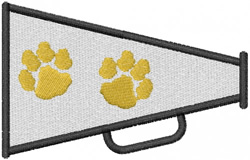 TWO PAW PRINT MEGAPHONE embroidery design