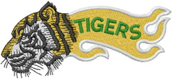 TIGER HEAD SIDEVIEW – FLAME W LETTERS embroidery design